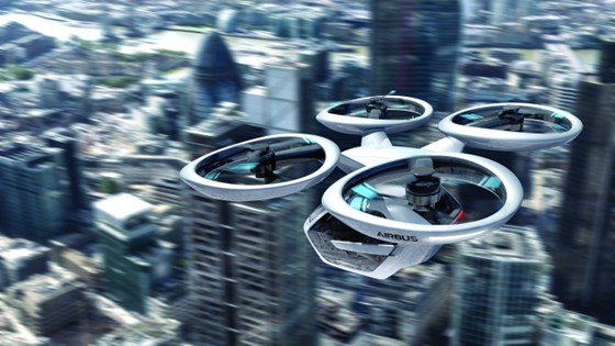 The Audi/Italdesign/Airbus Pop.Up Next, urban transport vehicle in flight. It is a fully electric vehicle, whether in the sky or on the ground.