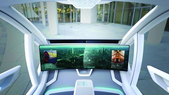 One of the key interior features of the Pop.Up Next is this 49-inch touchscreen that has eye-tracking and facial recognition capabilities.