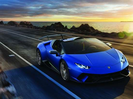 The Lamborghini Huracán Performante Spyder: a light-weight drop-top that goes from 0 to 62 mph in 3.1 seconds. It isn't all mass reduction, of course. But it helps.