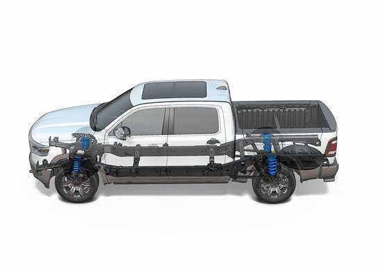 Ram claims a 225 lb. reduction for its 2019 Ram 1500 crew cab, with 100 lb. coming out of both the frame and body. A wide variety of steels are used in the frame, as are aluminum lower crossmembers.