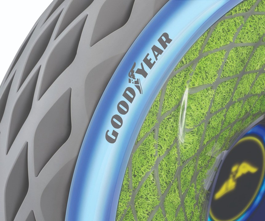 Oxygene, a concept tire from Goodyear, grows its own moss, serving as an air filter in densely packed city streets.
