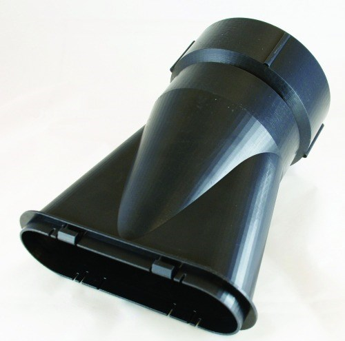 Prototype exhaust vent made via FDM with Somos-Taurus for high thermal resistance and mechanical strength.