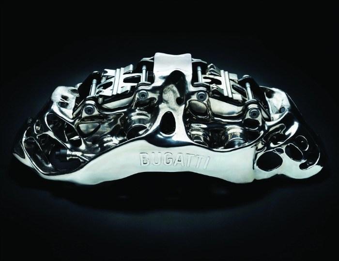End-use titanium brake caliper for the Bugatti Chiron sports car, made on an SLM 500.