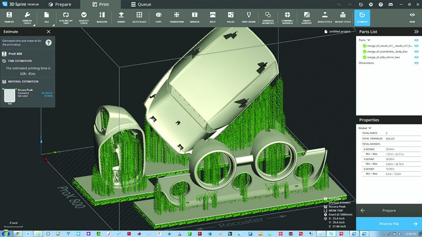 This screenshot of 3D Sprint plastic additive software from 3D Systems shows an automotive mirror and gauge cluster assembly ready to print with support structures.