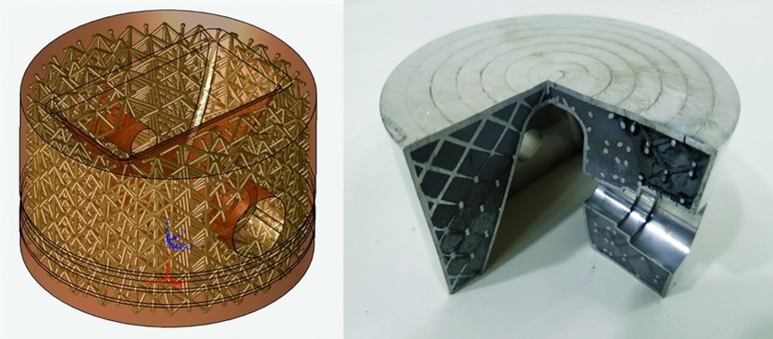Lightweighting a solid piston head leads to integrating an internal lattice for structural integrity using 3DXpert from 3D Systems (left). A cutaway (right) of the metal additive print exposes the lattice with unsintered powder trapped inside, leading to a 35 percent weight reduction for the part.