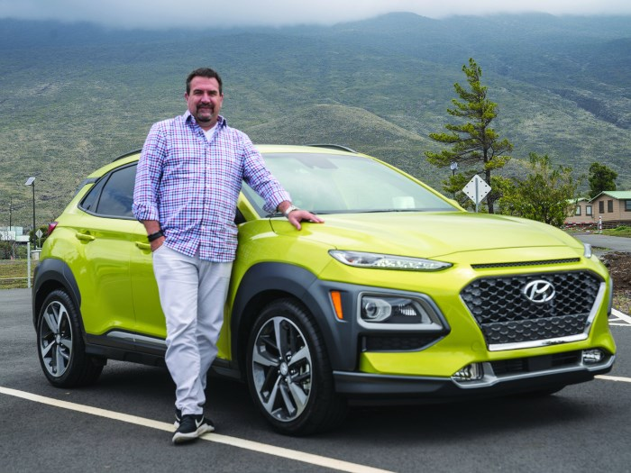 """Chris Chapman, senior chief designer of the Hyundai Design Center in Irvine, California, and the 2018 Kona on the island of Hawaii. """"We took the idea of lava flow and mountainous terrain and incorporated it into the design of the vehicle—lines that are abrupt and short. A dancing kind of thing. Spontaneity."""""""