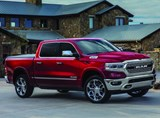 "The 2019 Ram 1500, explains Joe Dehner, chief exterior designer for Ram, still has the ""big rig"" front end styling, with a strong vertical presence. ""I like to call it a 'super hero,' as it has its chest forward."" Also note how the body side has form to it, which he says is different than other light-duty pickups, which tend to have flatter sides."