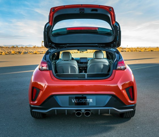Even though you have a car that delivers a best-in-class specific output of 125.6 horsepower per liter, you still might like some cargo capacity: pop the hatch and there is 19.9-ft3 of space behind the second row—even more when the rear seats are folded.