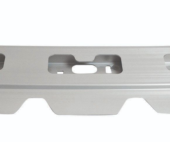 Aluminum windshield header for the F-Series is an aluminum extrusion that features a 3D bend and weight-saving cutout performed both with lasers and CNC equipment by Constellium Automotive Structures North America.