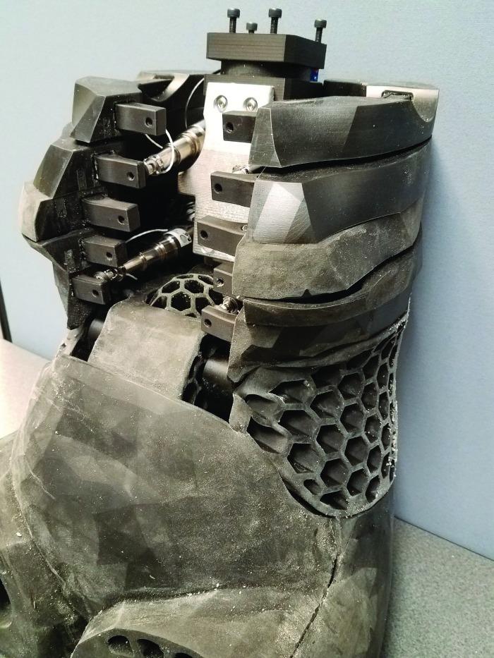 Crash dummy torso showing 3D-printed components.