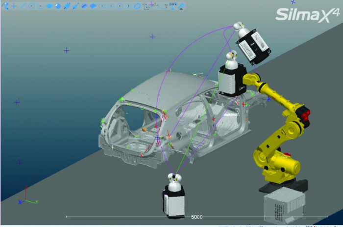 Screen shot of Metrolog X4 i-Robot as it controls and synchronizes the motions of both the robot and the Laser Radar.