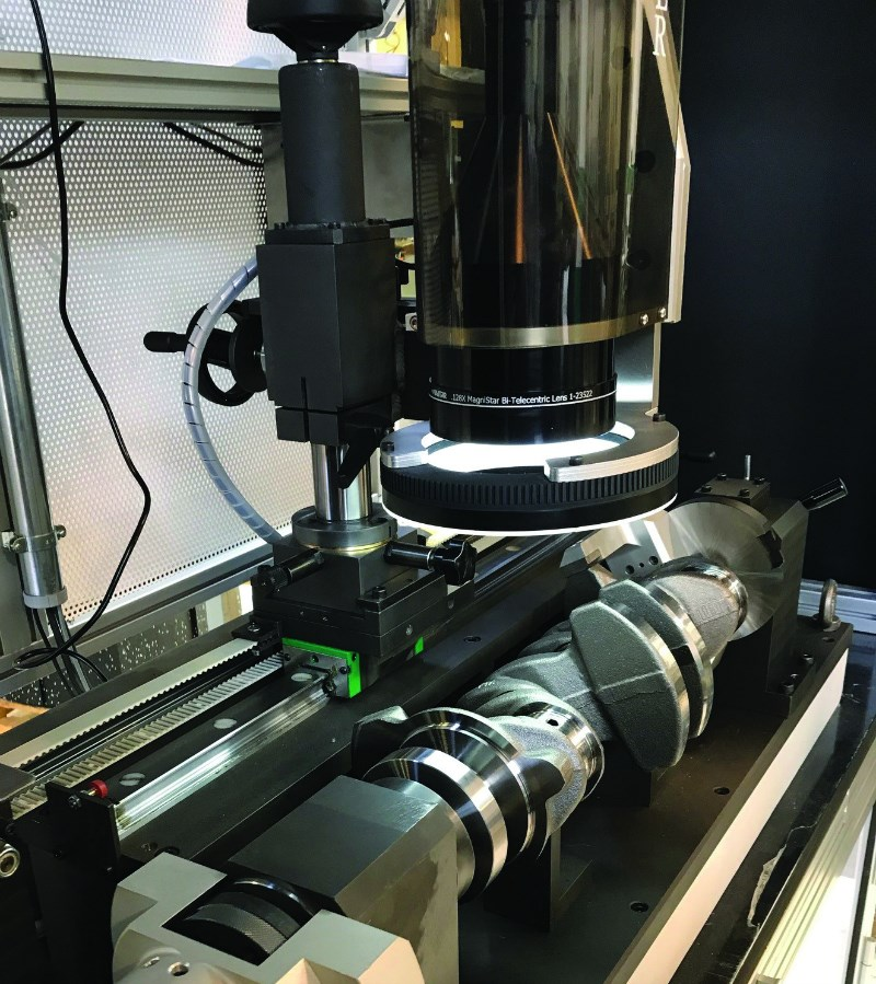 The crankshaft hole inspection system developed by Rosfer forgoes touchprobes in favor of visual inspection that relies on the Heidenhain Quadra-Chek 3000 electronic measurement system.