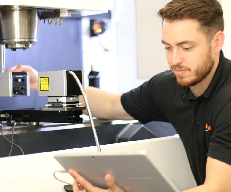 The XM60 volumetric laser calibration system uses laser interferometry to measure all six degrees of freedom of each machine axis in a single pass