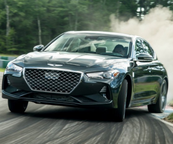 If you're going to have a sport sedan, then you should be able to drive it in a spirited manner, as is the case with the 2019 Genesis G70, based on a new RWD architecture and available with a six-speed manual transmission. It is offered with 252-hp and 365-hp engines. All-wheel drive is also available. (Of course, the car drives in a perfectly respectable manner when it doesn't happen to be on a race track, as it is here.)