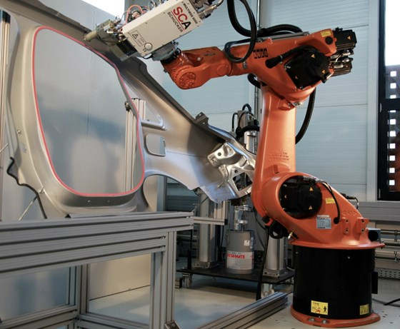 Robotic application of Betamate structural bonding adhesive. (Credit: Dow Automotive Systems)