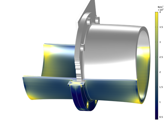 The COMSOL Bolt Thread Contact feature uses two cylindrical boundaries as internal and external threads, creating a contact pair for engineers to analyze the localized stresses around actual bolt threads.