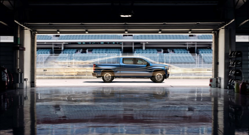 The 2019 Silverado is 7 percent more aerodynamically efficient that the previous model thanks to things like functional air curtains in the front fascia that route air around the front wheel wells and an integrated spoiler on the trailing edge of the cab.