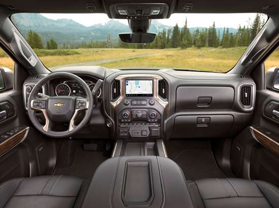 The model comes in eight trim levels, which encompass the elements of the vast pickup truck market: High Value, High Volume and High Feature. This is the interior of the High Country, the highest of the High Feature category. As there is a seat in the photo, know that the driver's seats for all Silverados are tested for 100,000 cycles, which is like getting in and out of the truck 24 times a day for 11 years.