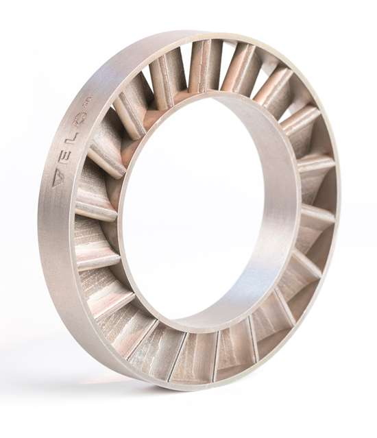 This stator ring was printed without the use of support structures.