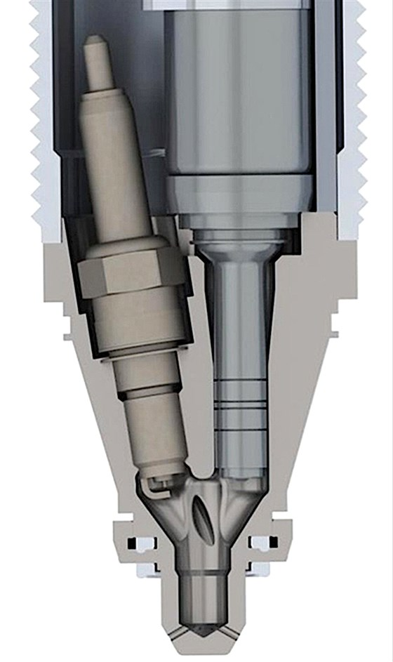 Turbulent Jet Ignition places a direct injector and spark plug together, using a dense initial charge to ignite a larger, leaner primary mixture introduced via port injection. The result is dramatically higher efficiency, lower emissions, and more power. Mahle has continued to refine the concept, most significantly with the Ferrari F1 team.