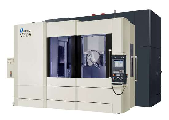 Makino five-axis V90S vertical machining center.