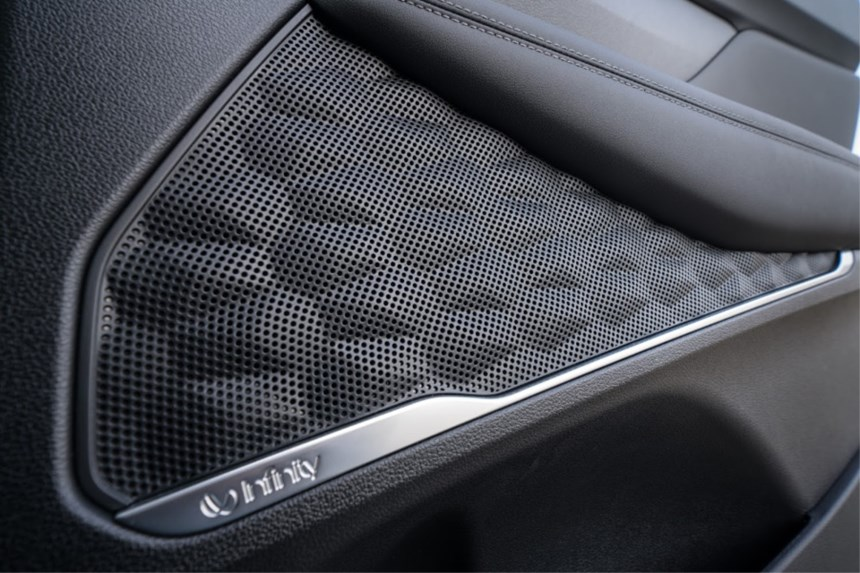 The texture of the speaker grille is based on the topography of mountains.