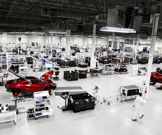 Although this might look like some sort of exceedingly clean warehouse, it is actually the Performance Manufacturing Center, where the Acura NSX is produced. Maximum daily volume? Ten supercars per day.