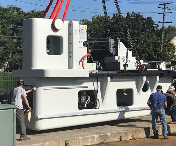 The LF35-75 linear friction welder on its way to LIFT in Detroit.  Source: MTI