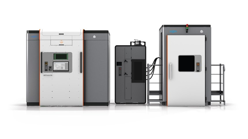 Shown here are the printer module (left) and the powder management module (middle and right) for the DMP Factory 500.