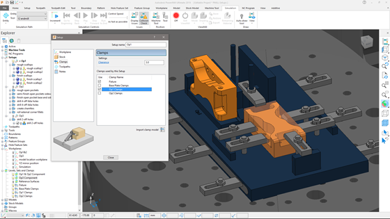 Setups within PowerMill 2019 contain workplane, stock, toolpaths, and clamp entities for each machining setup. This single group helps manage machining components across multiple fixtures in multiple machining operations, thereby increasing productivity.