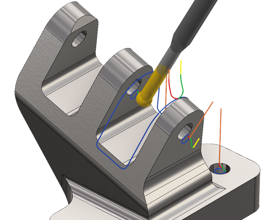 The Deburr capability in Mastercam 2019 calculates where the edges of a model are and then calculates how to remove just the burr that remains after milling.