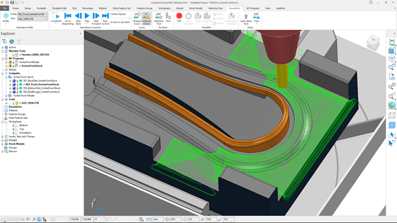 The Vortex strategy for high-efficiency roughing in PowerMill 2019 now includes adaptive clearing. Plus the machining stepover has been relaxed; it can now be up to 99 percent of the tool diameter.