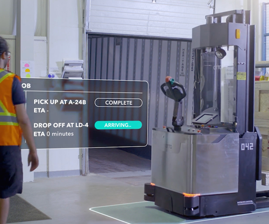 The newest OTTO Motors self-driving vehicle is a lift truck. Like the company's other models, it navigates by integrating data from three different kinds of sensors: LiDAR, IMU and a laser-based wheel encoder.