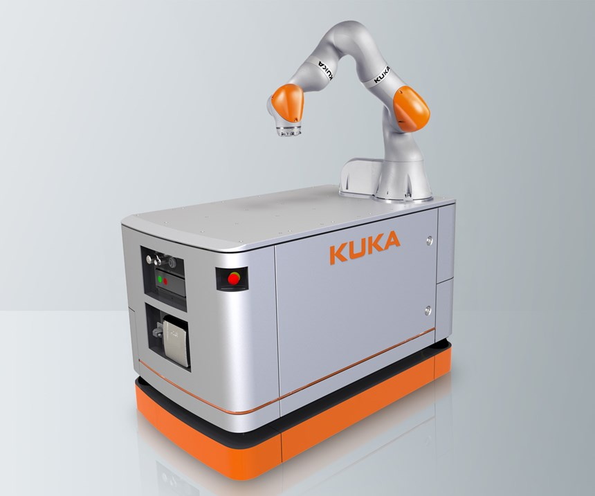 A KUKA mobile robot combines an AGV with an LBR iiwa collaborative robot to create an AGV that can load and unload itself.