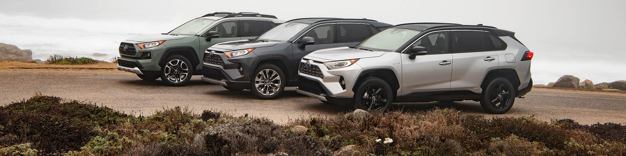 One way to address a wide base of consumers is to design the trims with distinction so that there is clear differentiation, as can be discerned here with the XSE HV (front) with two-tone exterior paint scheme; the Limited (middle) with 19-inch wheels and a gray-metallic grille; and the Adventure (rear), with larger over-fenders and bumper, and matte-black accents.