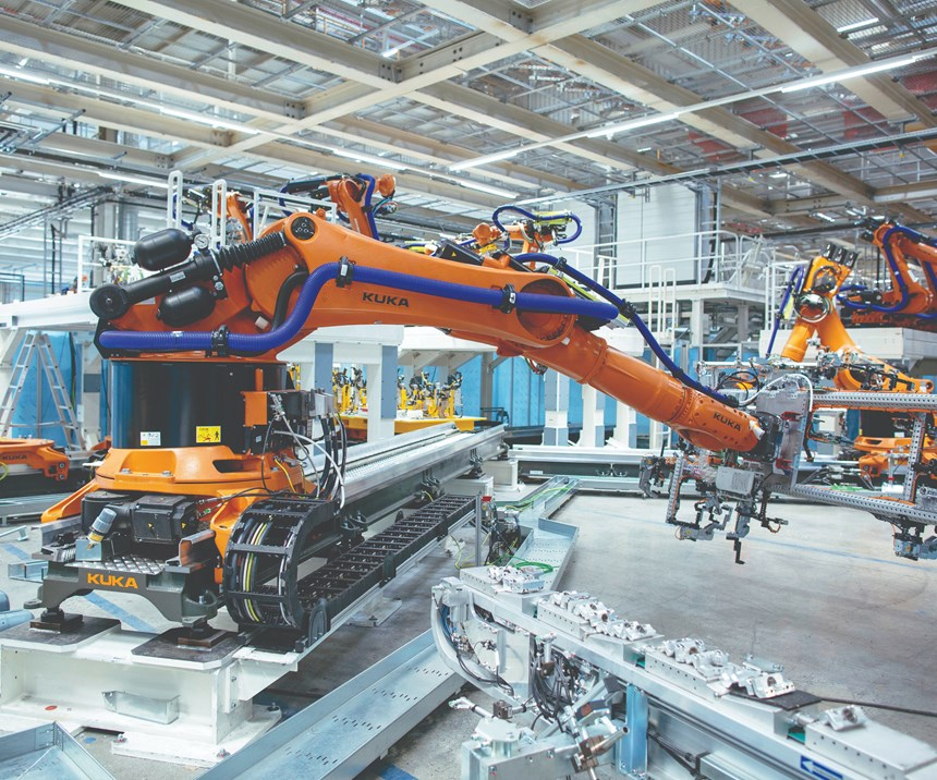 Inside the Zwickau factory, which is VW's lead plant for electric vehicle production. When fully transformed from being a plant where internal-combustion engine powered vehicles are built to one that makes only EVs, the annual production capacity will be 330,000 vehicles.