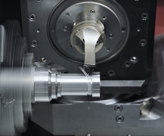 The FreeTurn tool in action, cutting multiple contours on a test workpiece.