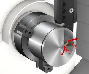 The FreeTurn tool's slim shank and axial concept is designed to optimize the direction of the cutting forces into the spindle. At the front is the multi-sided insert; each edge of the insert has different properties.