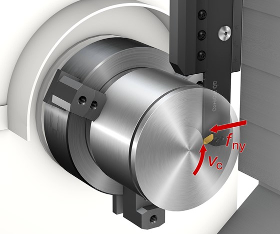 The CoroCut QD Y-axis parting tool takes on cutting forces in its longer, more stable dimension, enabling feed rates up to three times faster than conventional X-axis parting tools.
