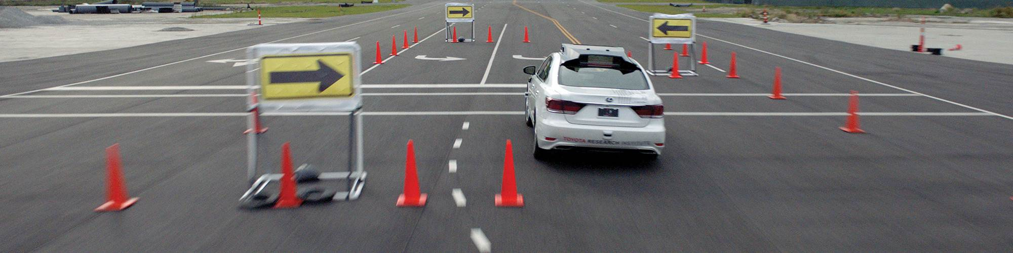 While an unassisted human driver is unlikely to make it through the slalom course, with the Guardian system assessing the situation and making adjustments to the steering, brakes and throttle, it can run the course without taking out any cones.