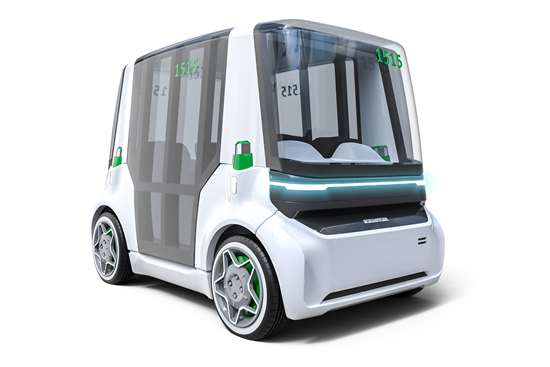 The Mover is a concept robo-taxi uses electric wheel motors for propulsion so that the interior space of the vehicle is maximized.