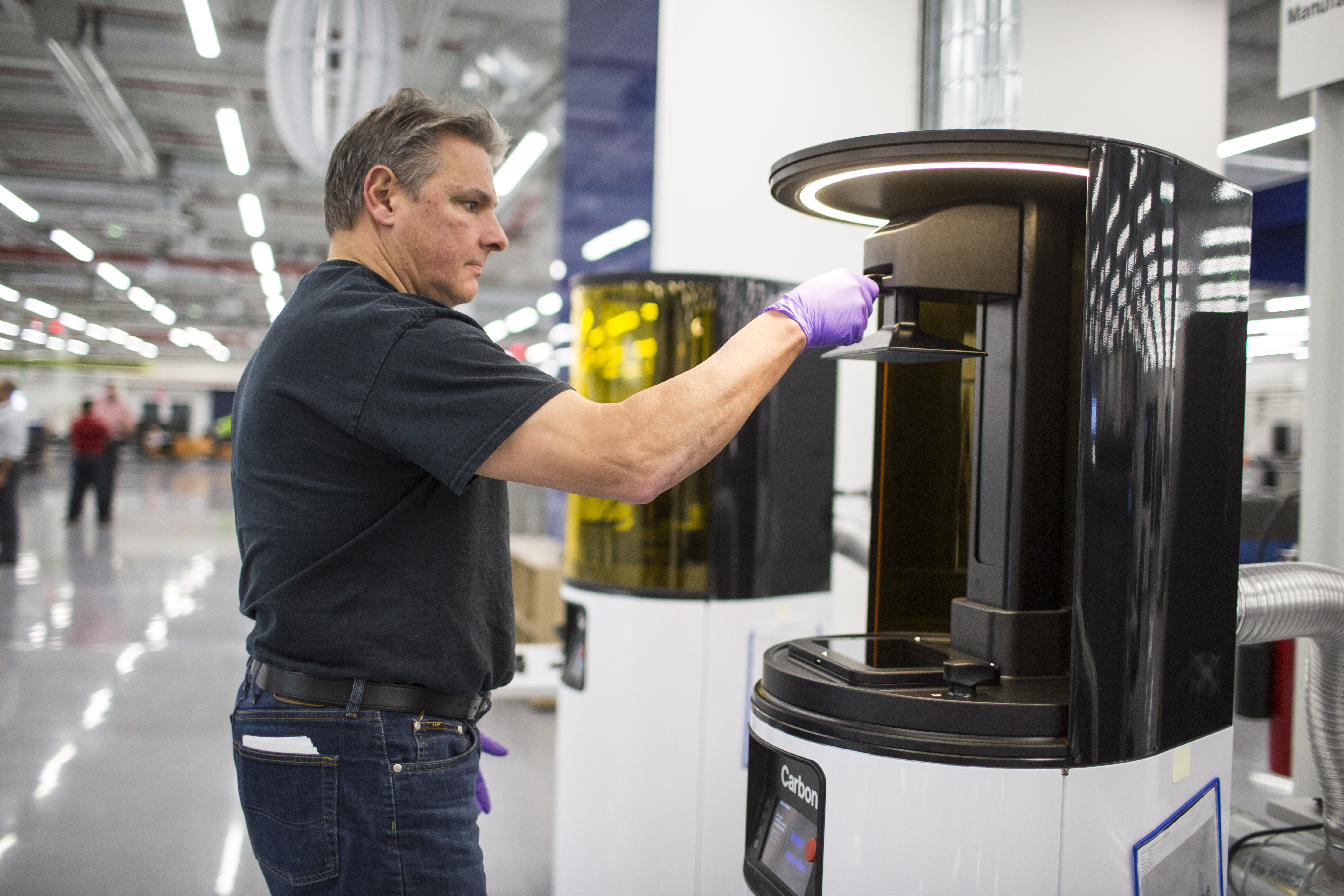A Carbon 3D printer at Ford's recently opened Advanced Manufacturing Center in Redford, MI. (credit: Ford Motor Co.)