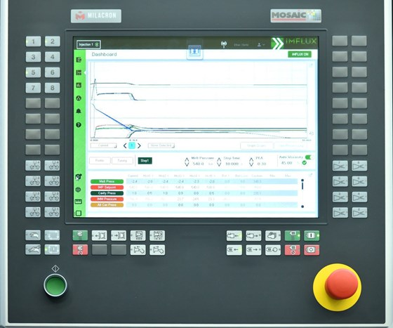 The iMFLUX control module on a Milacron injection molding machine.