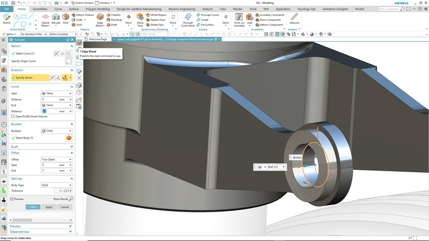 The latest release of NX from Siemens PLM Software features an adaptive user interface built on artificial intelligence and machine learning, which dynamically update the NX user interface based on a prediction of the next steps in a workflow. This level of personalization can improve overall NX usage and ultimately lead to higher productivity and more efficient product development.