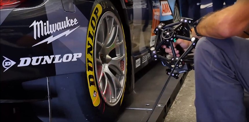 The Creaform MetraSCAN 750 3D scanner checks the dimensions of a wheel assembly on a 24 Hours of Le Mans entry.