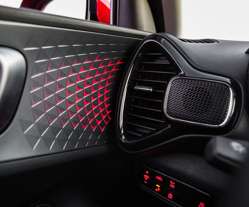 """One of the things that Kia designers pay careful attention to is detail, which allows them to leverage to positive effect things that might otherwise be overlooked, like this door trim panel. It is almost as though they think: """"We've got to have one, so how do we make it look special?"""""""