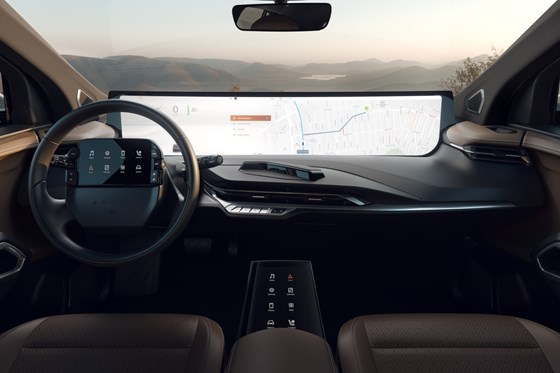 The M-Byte midsize SUV, designed by newcomer OEM Byton, will feature 48-inch screen that is the length of the instrument panel, and will be operated partly with gesture controls.