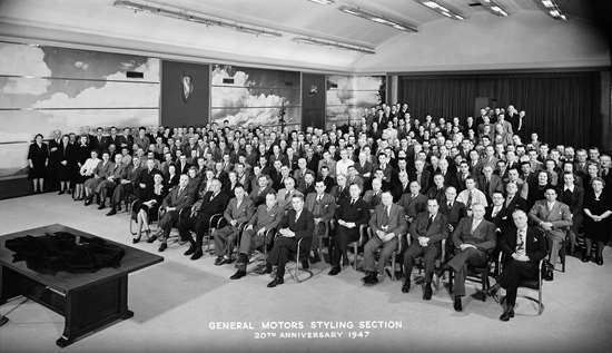 This is what the GM design staff looked like in 1947. A lot of testosterone in the room. (Photo: GM)