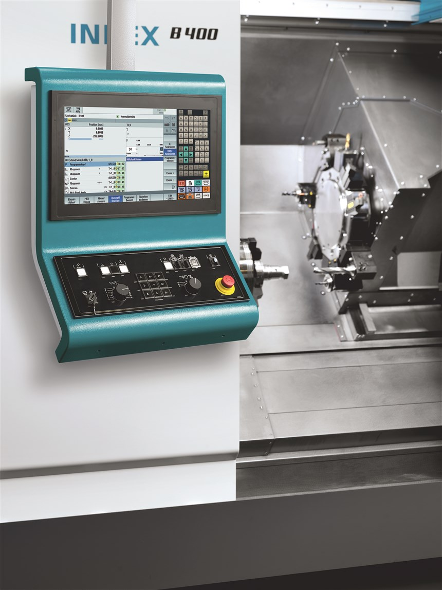 The Index B400 has a Siemens Sinumerik 840D sl controller; The Traub TNA 400 (not pictured) instead comes standard with Mitsubishi TX8i-s V8 controls—one of the few differences between the machines.
