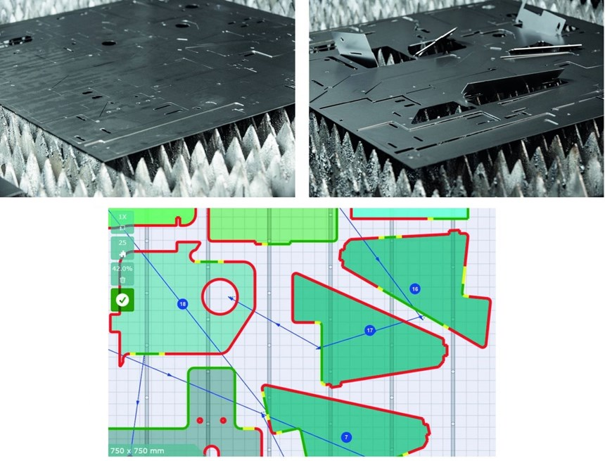 Top left: Flat parts, flush with their nest. Top right: Tilted parts. Bottom: An optimized cutting sequence simulation in TiltPrevention.